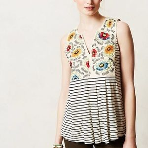Anthropologie tiny embroidered striped swing tank